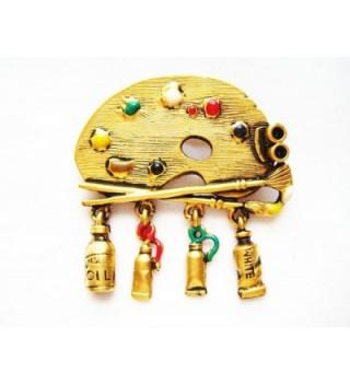 Danecraft Gold-Plated Artist Paint Palette Pin Brooch - CX11DNUYN3B