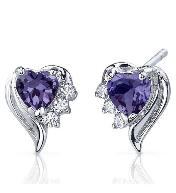 Simulated Alexandrite Heart Earrings Sterling Silver Rhodium Nickel Finish 1.50 Carats - CT116LWJERN