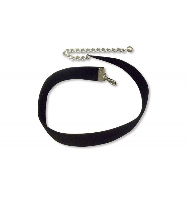 Black Velvet Choker with Four Inch Adjustable Chain 12 to 16 Inches Total Length - C012F70FCHZ