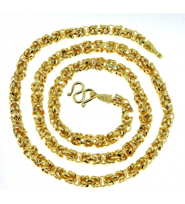 "Intricate Byzantine Diamond-cut Baht Chain Jewelry 24k Gold Plated 26"" Necklace Thailand - CN12HH2RM15"