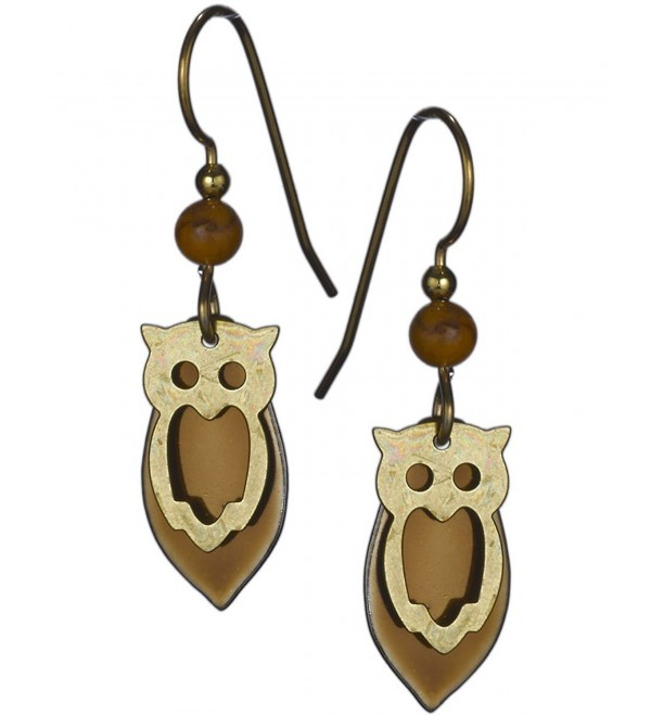 Gold-tone & Copper-tone Tear Drop Owl French Wire Earrings by Silver Forest - CT11NW6PWXB