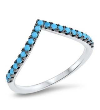 Chevron Pointed Simulated Turquoise Thumb Ring Sterling Silver Stackable Band Sizes 4-10 - CN12MX98GWK