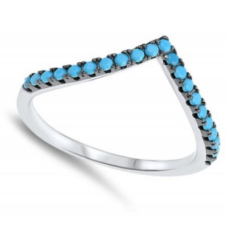 Simulated Turquoise Sterling Silver Stackable