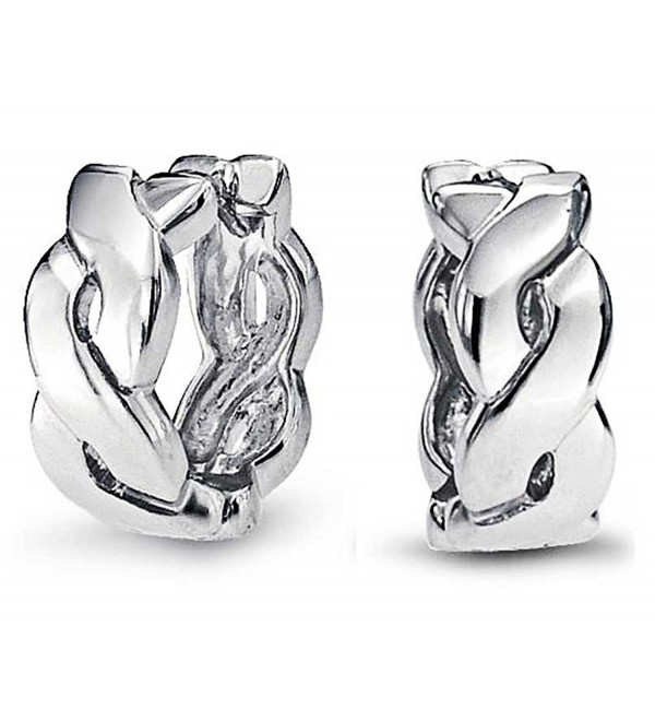 Bling Jewelry Sterling Silver Infinity Figure Eight Huggie Hoop Earrings - CW11F75056J