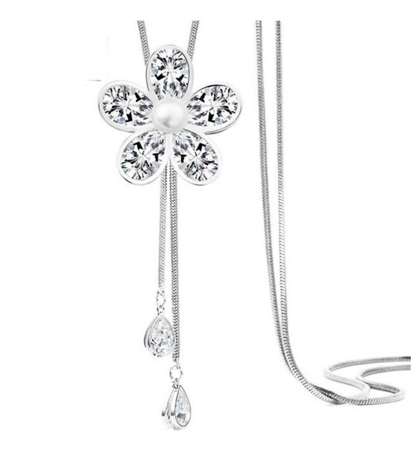 Z-Jeris Women Crystal Flower Pendant Long Chain Tassel Necklace - Silver - CW17YTG5LYT