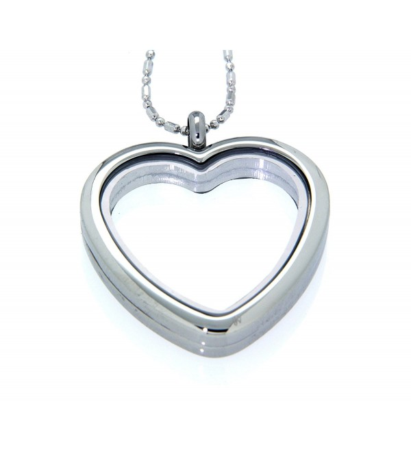 Clearly Charming Heart Floating Charm Locket Necklace - CQ11WXCR3CX