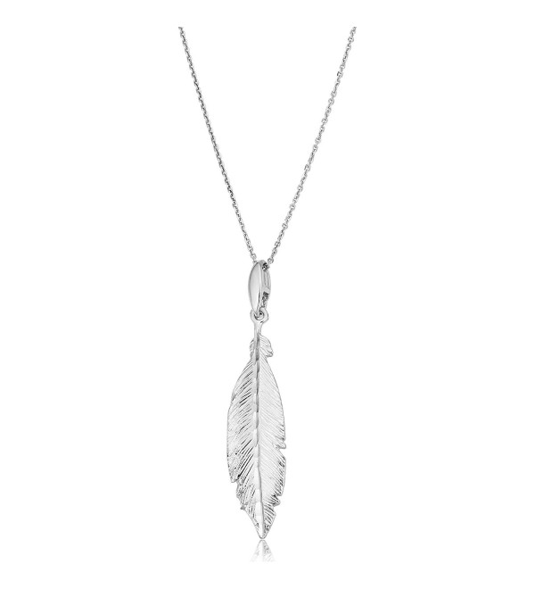 Sterling Silver Stylish Feather Pendant On Adjustable Length Cable Chain Necklace (18 inch) - CV12GJMHSYF