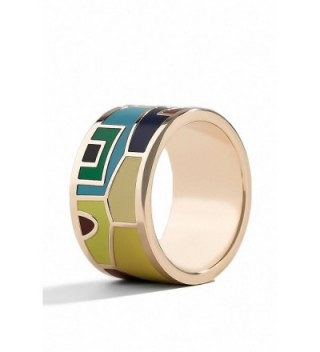 Enamel Ring Band Wide Rings Costume Jewelry for Girls Women Fashion Accessories - CQ12ODL9AJ5
