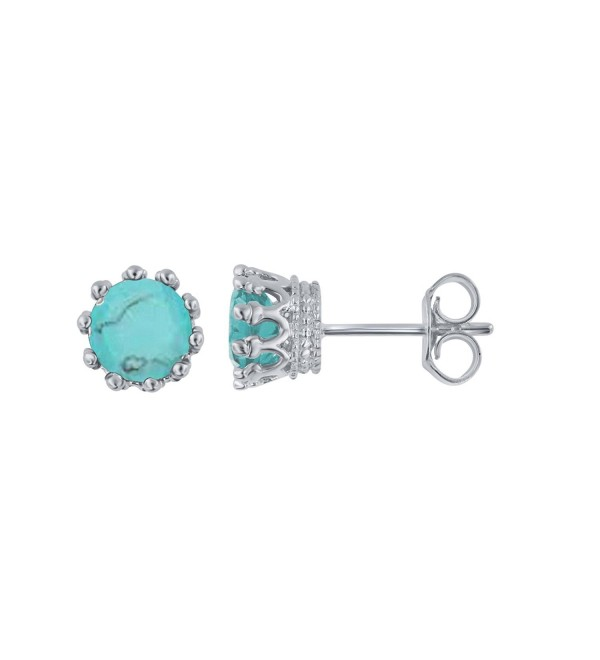Sterling Silver Turquiose Stud Earring - CM188CZKXUT