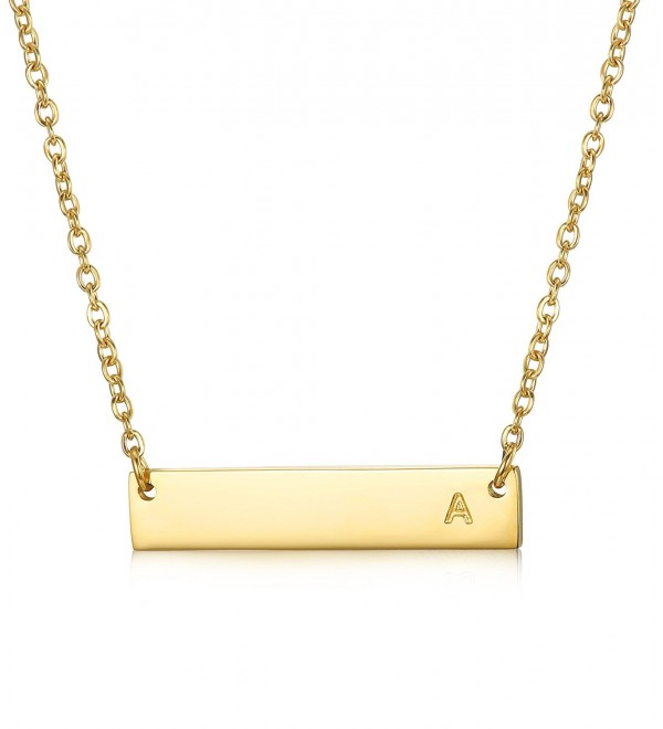 "LOYALLOOK Stainless Steel Gold Tone Initial Bar Necklace Alphabet Pendant Necklace 16"" with 2"" extender - CB184USM8AK"