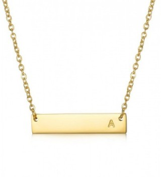 """LOYALLOOK Stainless Steel Gold Tone Initial Bar Necklace Alphabet Pendant Necklace 16"""" with 2"""" extender - CB184USM8AK"""