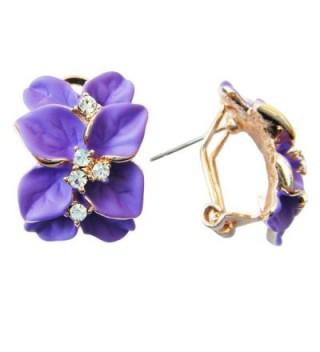 Navachi 18k Gold Plated Crystal Purple Enamel Leaves Flower Omega Earrings - C611T60WGHH
