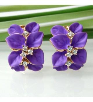 Navachi Plated Crystal Purple Earrings