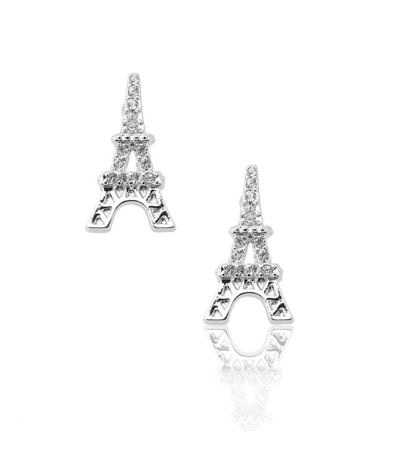 Spinningdaisy Silver Plated Crystal Eiffel Tower Earrings - C31180KWTGH