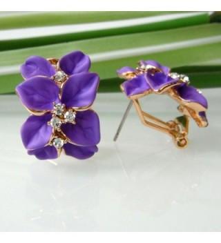 Navachi Plated Crystal Purple Earrings in Women's Stud Earrings