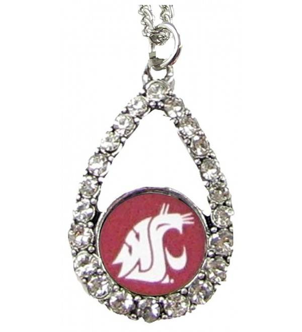 Washington State Cougars Crimson Teardrop Clear Crystal Silver Necklace Jewelry WSU - C511J1GDU2L