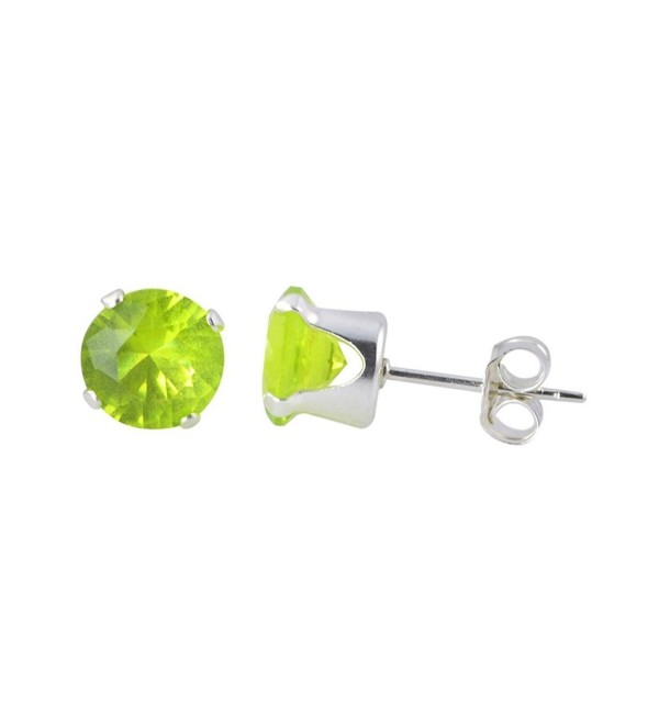 Tiny Stud Post Earring Round Simulated Green Peridot 925 Sterling Silver - CF12MYMJOFY