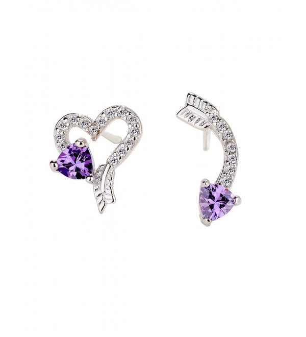 Love Heart and Arrow 925 Sterling Silver Stud Earrings - Cubic Zirconia Purple Rhinestone Ear Jewelry - C2186XW6WTZ