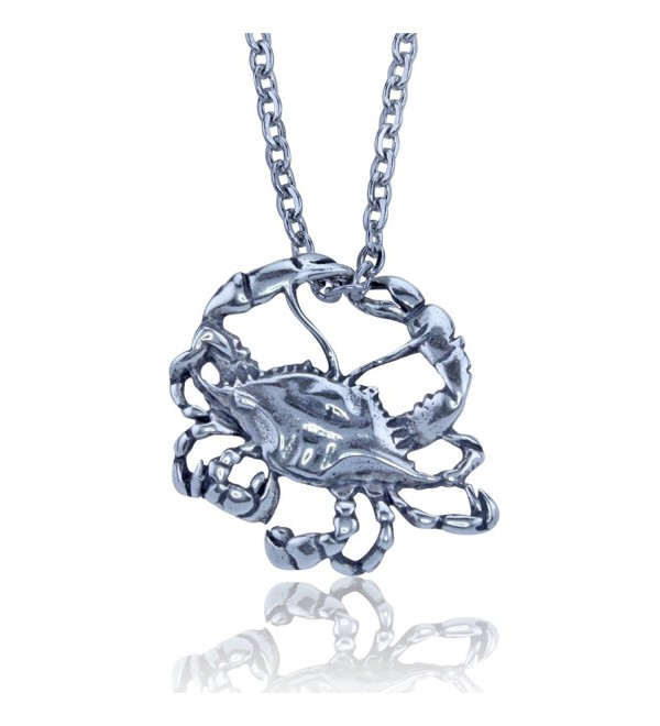 Blue Crab Pendant Crafted in Sterling Silver on an 18 Inch Necklace Chain - CS11D7NV7P1
