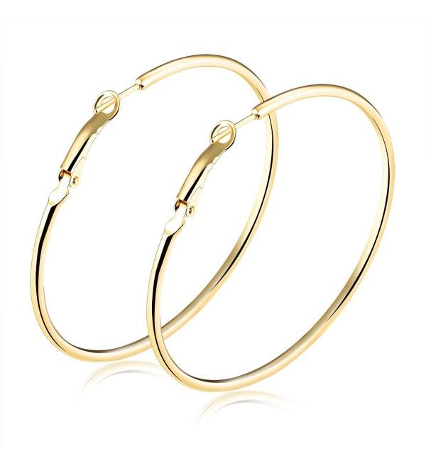 TEMICO Fashion Women Earrings Jewelry Gold Plated Round Hoop Earrings Hypoallergenic 40mm-70mm Diameter - C1187HMI4GL
