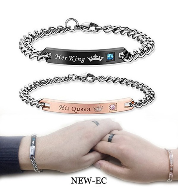 Couples Charm Bracelets Stainless Steel Chic Lovers Bangles Valentines Day Gift - CE1883WS79H