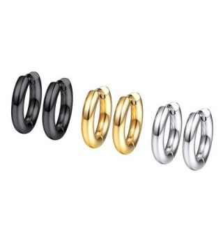 Earrings Earring Stainless Fashion 3PSE3010JGH - 0.39''*0.39''-3 pairs of different color - C1189Z83DI5