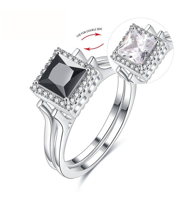 New Arrival Creative Double Side Reversible Flip with Black White Rhinestone Women/Men's Charm Ring - C3183NHXCI7