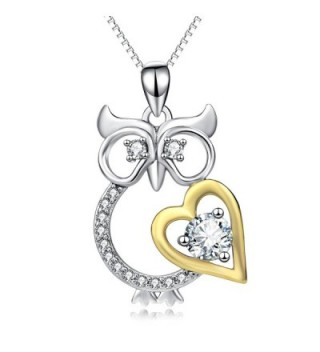 Angel caller Jewelry 925 Sterling Silver Owl with Gold Tone Heart Women Pendant Necklace - CK1832NR4E5