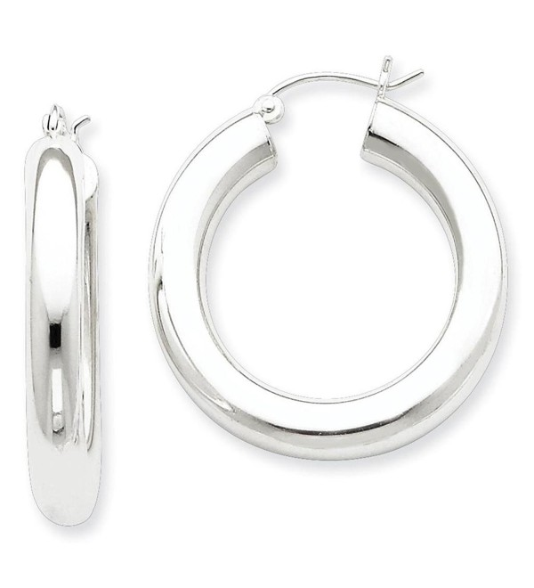 925 Sterling Silver Rhodium-plated Polished Hinged Hoop Earrings 5mm x 30mm - CP11FW547XB
