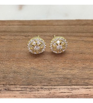 Yellow Plated Sterling Zirconia Earrings