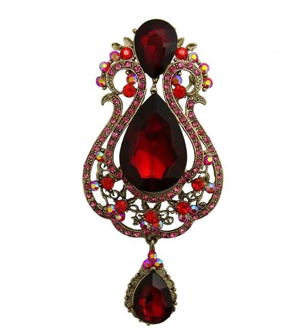 TTjewelry Vintage 3.94' Vase Teardrop Brooch Pin Austria Crystal - Red - CN127RQXCBZ