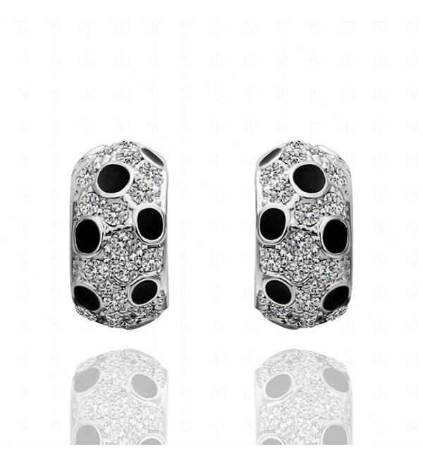 MANDI HOME 18K Gold Plated Reversible Double Sided Polka Dot Diamond Stud Earrings - White - CH11WPKZRML