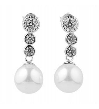 Sterling Silver Cubic Zirconia 10 mm Simulated Shell Pearl Exquisite Drop Dangle Stud Earrings - CZ12KJO215F
