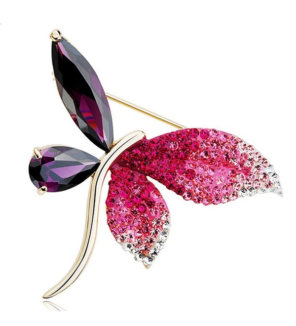 Latigerf White Gold Plated Swarovski Elements Crystal Dragonfly Brooch Purple - CD11REQ8B6Z