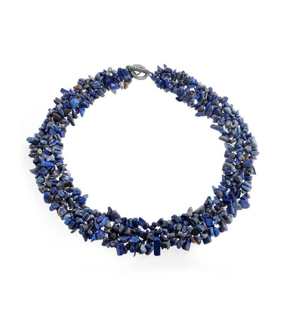 Bling Jewelry Multi Strands Simulated Lapis Lazul Chips Chunky Silver Plated Necklace 18 Inches - C912G58ILI5