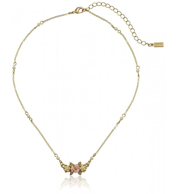 "1928 Jewelry ""Essentials"" Gold-Tone Simulated Pearl Pink Porcelain Rose Pendant Necklace- 16""+3"" - CL112AY2P9J"