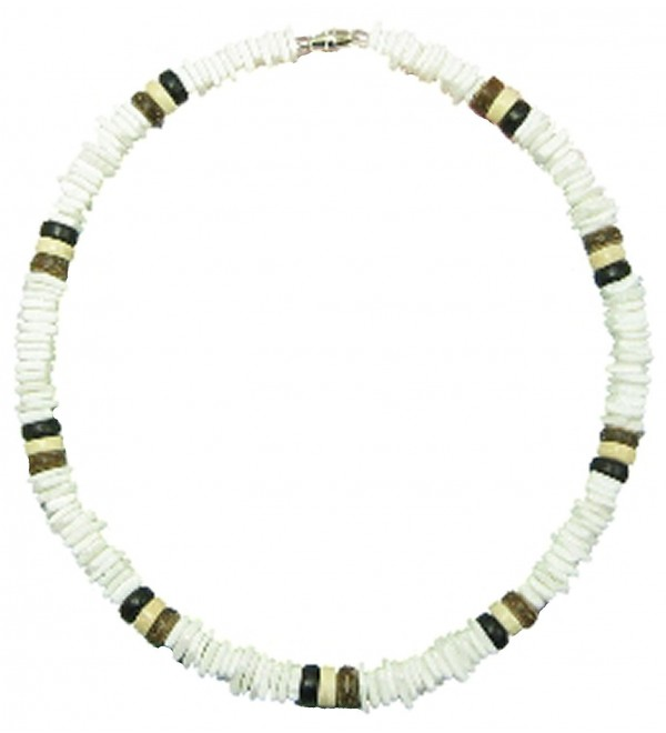 Puka Shell Necklace with Wooden Beads