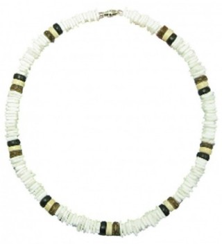 "Native Treasure - 18"" Puka Shell Necklace - White Rose Clam Chips and Wood Coco Beads - CZ111OPQKBP"