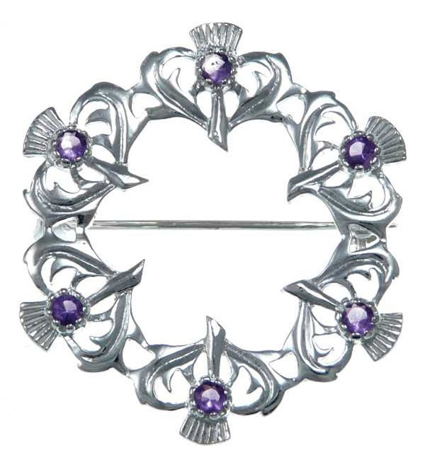 Sterling Silver Amethyst Thistle Brooch - Scottish Pin - CH12N740WDT