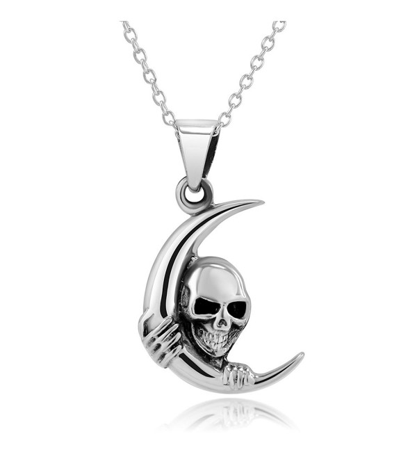 "925 Sterling Silver Crescent Moon Skull Pendant Necklace- 18"" - CL11MCY7R0P"