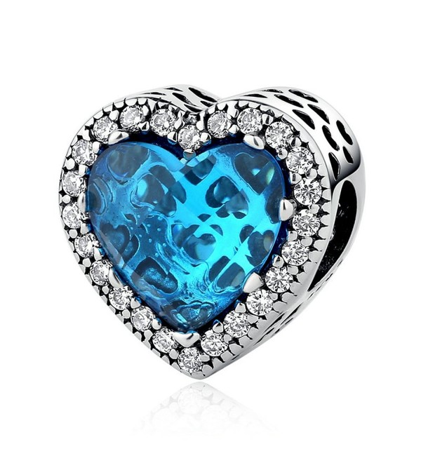 The Kiss Radiant Hearts Sky Blue Crystal Clear CZ 925 Sterling Silver Bead Fits European Charm Bracelet - CK17YC3WQZN