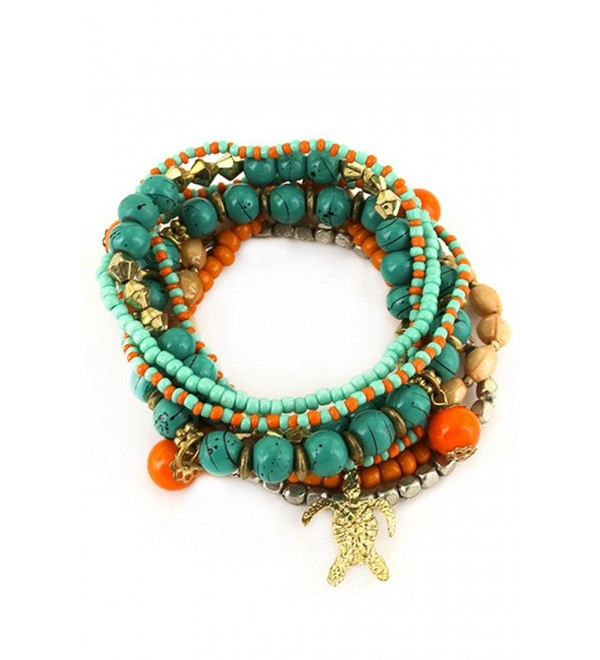Aris Bohemian Wood & Turquoise Beaded Stretch Bracelets Stack Bundle: Bracelets & Bag (Turtle Charm Turquoise) - CS12B5YYKAB