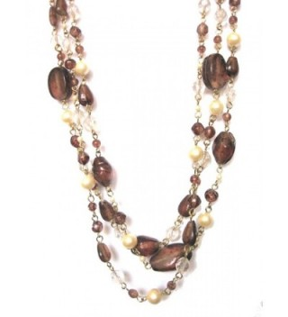 "ZAD Multi-Strand Faux-pearl and Glass Bead Layered Necklace- 18"" - 20"" (Gift-Ready) - Brown - CN12O45RW9F"