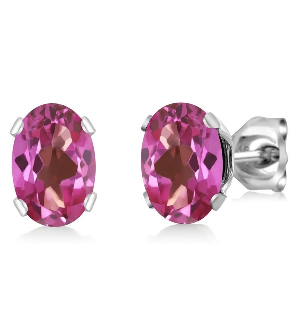 1.90 Ct Oval Shape Pink Mystic Topaz Sterling Silver Stud Earrings - CS1178056C9