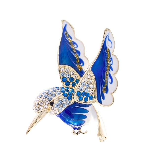 SEPBRIDALS HummingBird Bird Dress Brooch Pin Broach Rhinestone Crystal Jewelry (Blue) - CG17YU0DWWS