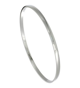 Stainless Steel Slip on Bangle Bracelet Domed Stackable Seamless 1/8 inch wide- sizes 7 - 8 - CC110PREOWF