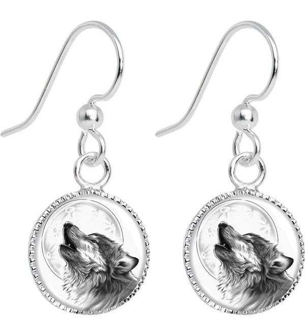 Body Candy Stainless Steel Howling Wolf Dangle Earrings - CY11949EZV5