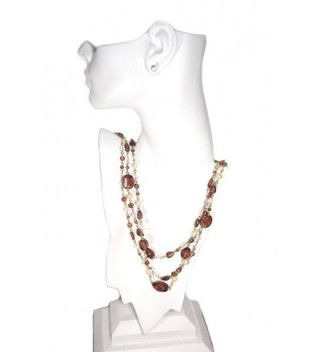 Multi Strand Faux pearl Glass Layered Necklace in Women's Strand Necklaces