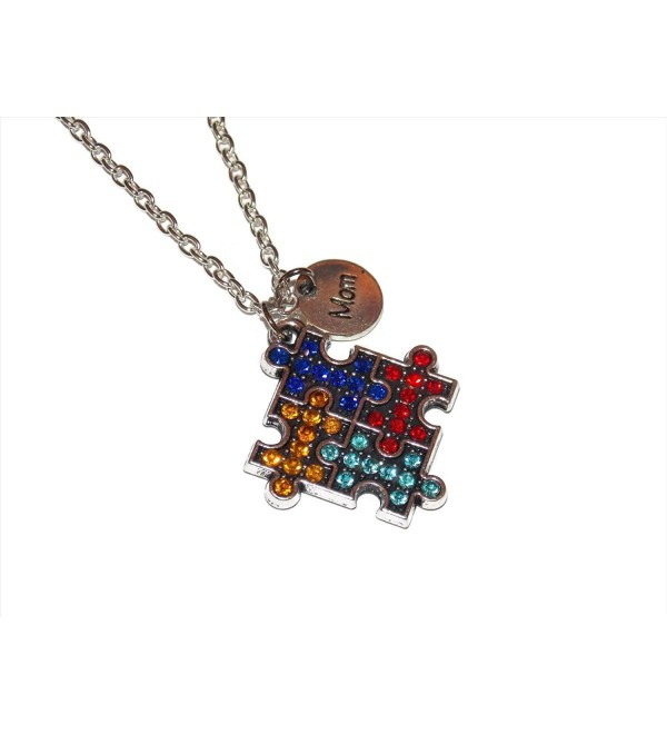 Mom Autism Awareness Gem Studded Puzzle Piece Necklace on 18 Inch Chain - CG12JGSQT5D