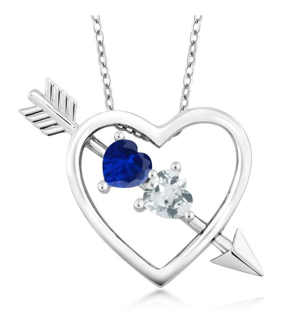 0.99 Ct Blue Simulated Sapphire Sky Blue Aquamarine Silver Heart & Arrow Pendant - CC128NXR569